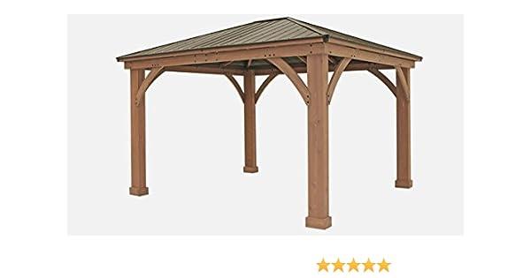 FSC certificado madera de cedro techo de aluminio 14 x 12 al aire libre Pavillion Gazebo: Amazon.es: Jardín