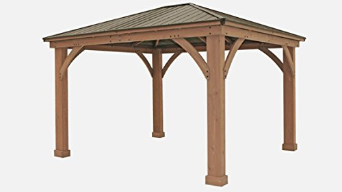 FSC Certified Cedar Wood Aluminum Roof 14' x 12' Outdoor Pavillion ()
