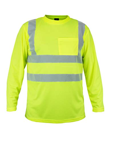 Kolossus 100% Polyester ANSI Class 2 Compliant High Visibility Long Sleeve Safety Shirt (L)