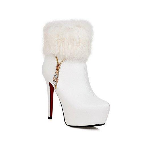 Fur Leather Chain Metal Collar White BalaMasa Boots Imitated Girls Stiletto 0w4qEEXg