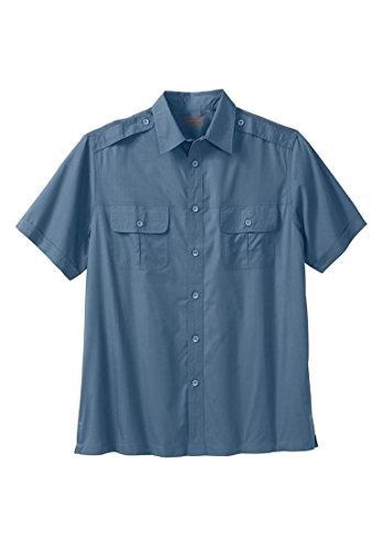 Boulder Creek Men's Big & Tall Short Sleeve Pilot Shirt, Slate Blue Big-4Xl