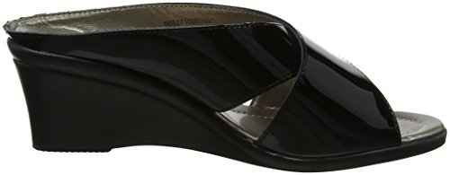 Noir Lotus Trino Patent Mules Femme Black Leather atwnwxPZTq