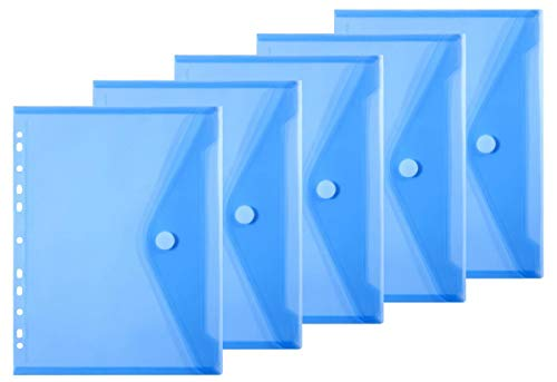 LaOficina 11 Holes Semi Poly Envelope Pocket Insert Pages for Binders, with Hook and Loop Closure Blue, Letter Size 5 Packs -