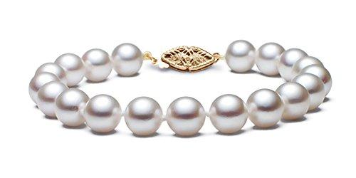 14K Or jaune HANADAMA qualité japonais blanc bracelet perle de culture Akoya, 17,8cm
