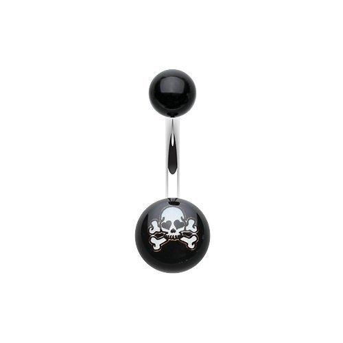 (Pirate Skull Acrylic Logo Belly Button)