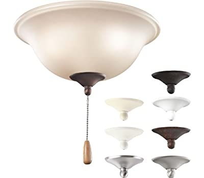 Kichler Lighting 338508MUL All-In-One 3LT Ceiling Fan Light Kit, Umber Etched Glass Shade