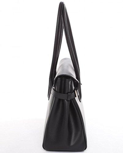 MONACO jOSYBAG cuir noir avec delphinprägung, au niveau ledergefüttert avec poignée