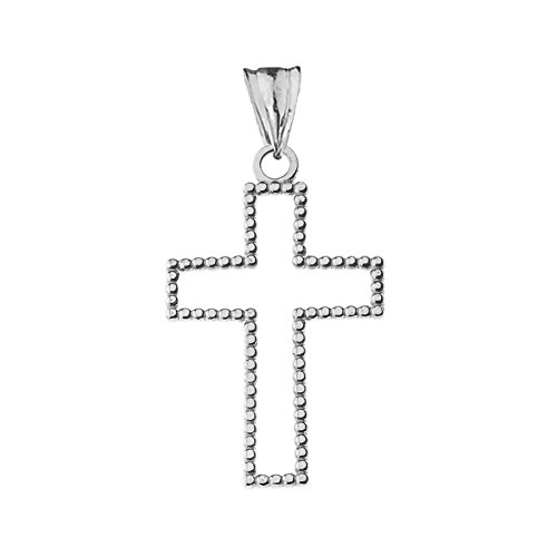 Modern Sterling Silver Two-Sided Beaded Open Cross Pendant Small (1.2