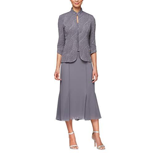 Alex Evenings Women's Tea Length Mock Jacket Dress, Pewter 14