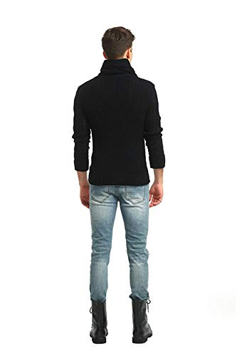 Baby Room Mens Cable Knit Cardigan High Neck Button Down Sweaters X-Large Black by Baby Room (Image #1)