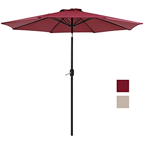 Finnhomy Canopy Table Patio Umbrella Sturdy 8 Ribs 9Ft Strong Aluminum Pole W Wind Vent Push Button Crank N Tile UV Resistant Heavy 250GSM Fabric Outdoor Garden Sun Shade Market Beach Deck Pool Red