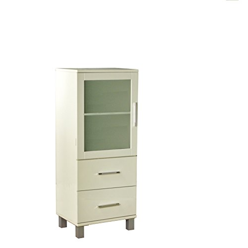 Target Marketing Systems 50029WHT Frosted Pane 2 Drawer Linen Cabinet, Antique White (Cabinet Stand Alone Bathroom)