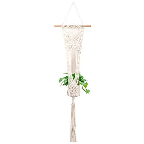 - Lewondr Macrame Plant Hanger, Cotton Rope Flower Pot Hanging Planter Basket Holder for Plants Flowers Garden Indoor Outdoor Décor - Beige, Butterfly