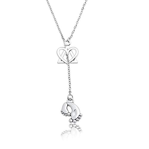 WUSUANED Intertwined Heart and Triangle Adoption Symbol Pendant Y Necklace Adoption Jewelry Gift for Stepmom Stepdaughter (New Baby Adoption Y Necklace) ()
