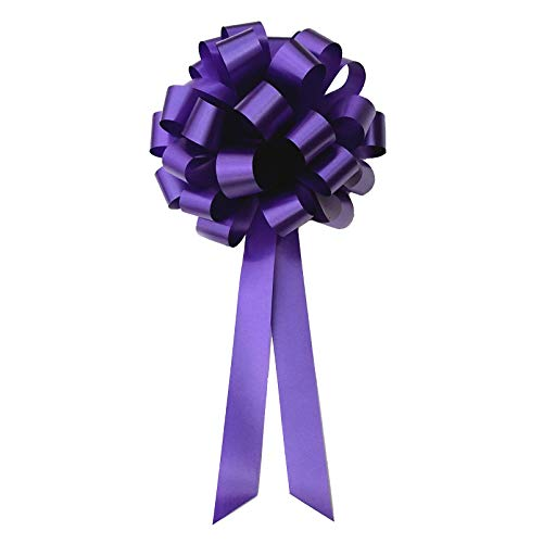 Purple Pull Bows with Tails - 8 Wide, Set of 6, Mardi Gras, Cancer Awareness