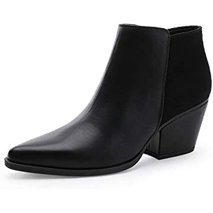 CentroPoint Women's Fashion Block Heel Ankle Boots Pointed Toe Side Zip Leather Booties
