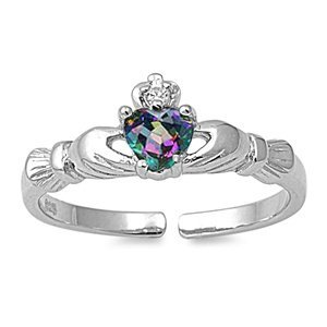 THE ICE EMPIRE Sterling Silver Simulated Rainbow FIRE Mystic Topaz Birthstone Claddagh Summer Flip-Flops Sandal Toe Ring (One-Size-Fit-All)