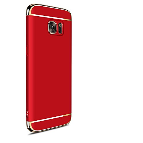 sale retailer 16d9f 50a51 Hard Case For Samsung Galaxy S7 Edge 3 in 1 Anti-Scratch Shockproof  Electroplate Cover Snap on Protective Case by Sophili - Red
