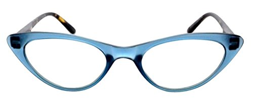 The Cat's Meow Colorful Ladies Cat Eye Reading Glasses, Full Frame Readers, 1950s Vintage Reading Glasses for Women + 2.25 Blue (Microfiber Cleaning Carrying Pouch Included)