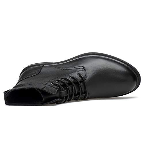 tamaño y para Exterior Botines Jusheng 37 Boots Warm Moda Negro Suela Color Black cómodo Hombres Alta Suave Martin EU Casual de qTx0Px1f