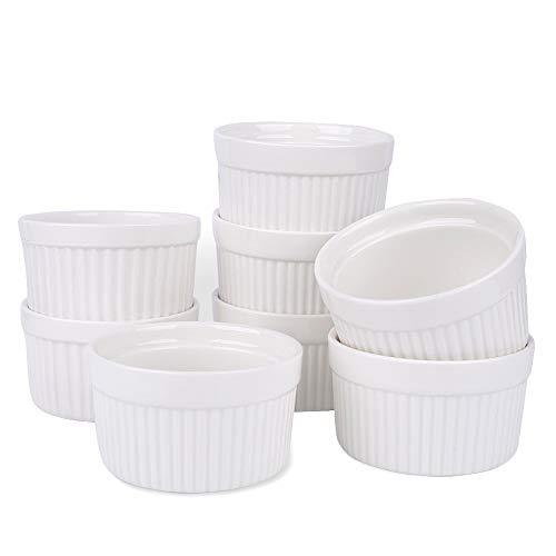 Porcelain Ramekins, SZUAH Ramekin Set of 8, 6oz (3.5 INCH) for Baking, Creme Brulee, Souffle, Appetizer, Custard, Pudding, Dipping Bowl.