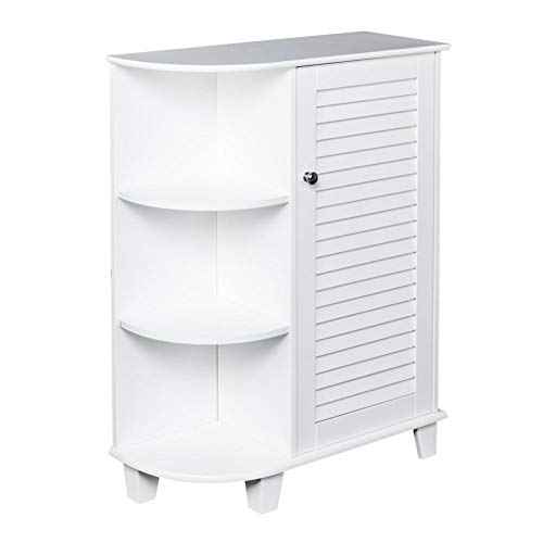 dalilylime 3-Tier Floor Storage Cabinet with 3 Rounded Side Shelves and 2 Interior Shelves,ZT048 Bathroom Storage Cabinet - Elegant Modern Storage lockers for Kitchen/Bedroom / Bathroom,White (Door Rounded)
