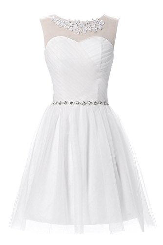 DressyMe Junior Bridesmaid Dresses Short A-Line Beades Tulle Homecoming Dress-6-White ()