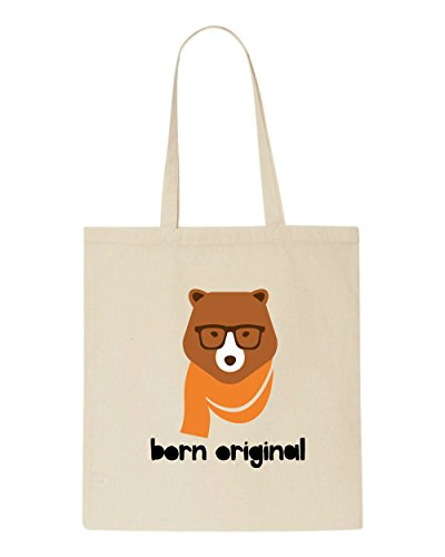 Beige Animal Born Quote Bag Bear2 Shopper Tote Style Character Vintage Original Hipster PxwxtqBYA