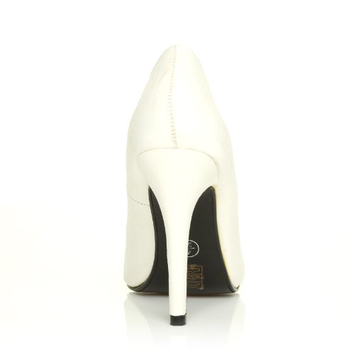 HILLARY Heel Shoes Glitter White High Stilleto Classic Court rcr67qAS