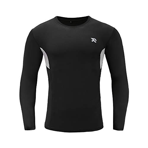 (RADHYPE Men Polyester Fitted Long Sleeve Athletic Tshirt Training Top Black S)