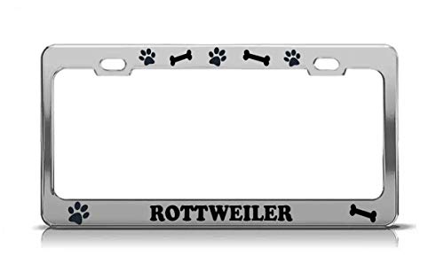 Product Express Rottweiler Dog Paw Print License Plate Frame Tag Cover & Holder Chrome