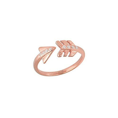 Mini Mini Jewels 14k Rose Gold Shimmering Diamond Accented Chic Arrow Adjustable Ring - Size 7.50 ()