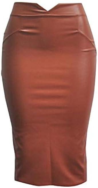 Xmiral Lápiz Falda de Cuero para Mujeres Tubo de Color Liso Skirt ...