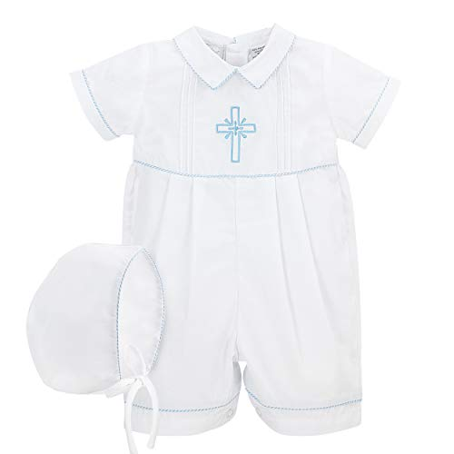 Christening Boys Short Romper Matching Hat Cross Details White