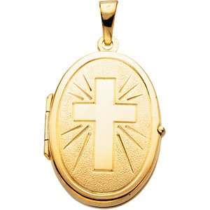 14k Yellow Gold Engraved Cross Oval Locket Pendant by The Men's Jewelry Store (for HER)