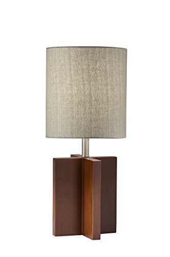(Adesso 1538-15 Marcus Table Lamp, Walnut Birch Wood with Brushed Steel Accents)