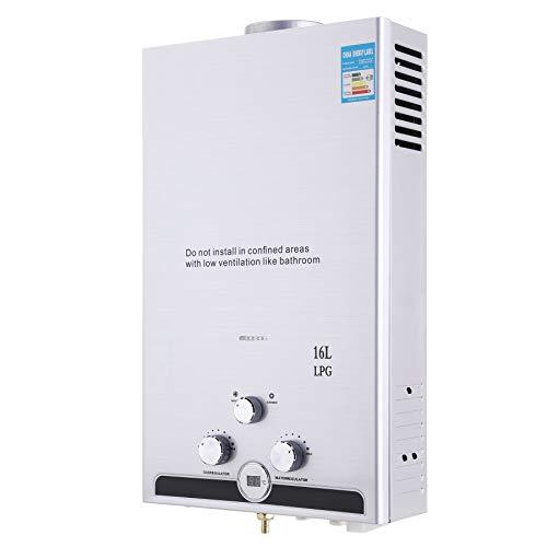 Z ZELUS 16L Calentador de Agua LPG Calentador de Agua Instantaneo 32KW Calentador de Agua de Gas Licuado de Petroleo sin Tanque (16L)