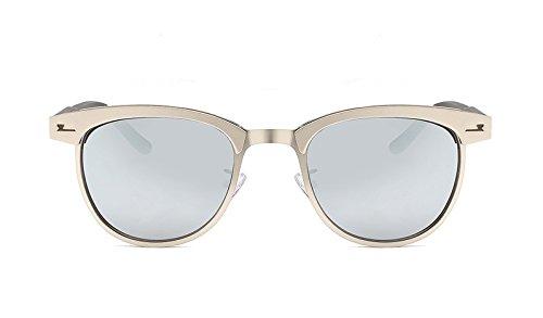 MY Polarized de Classic Marco de Gafas Medio Metal Hombres Unisex Gafas Moda de Color UV400 Silver Gray Sol de para de conducción Black Marca silver Sol ZnZrp7q