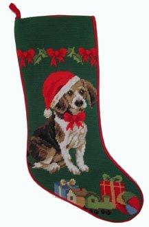 Needlepoint Christmas Dog Stocking-Beagle + Hat