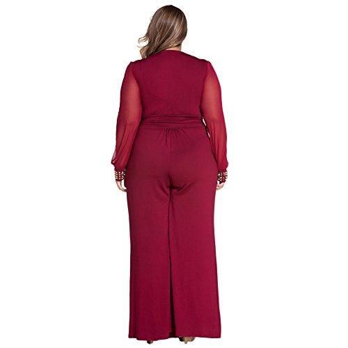 6baa7deb9f8 Women Plus Size Long Mesh Sleeves Plunge V Neck Wide Leg Wear to ...