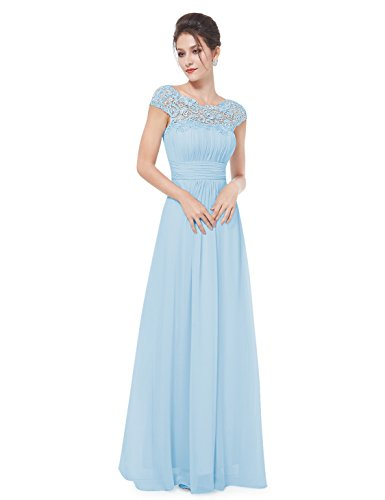 - Ever-Pretty Womens Cap Sleeve Formal Wedding Guest Dress Sky Blue US22