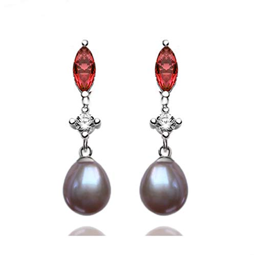 POLITENY Gold Plated 925 Sterling Silver 7mm Culcture Pearl Dangle Earrings for Women (red Purple) ()