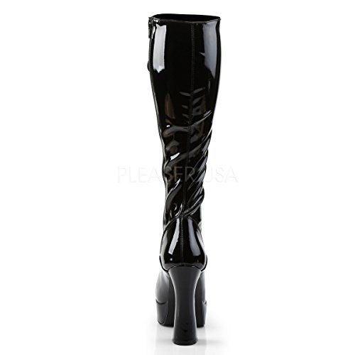PleaserUSA Womens Knee Boots Electra-2023 with stretchable shafts Black Matte dBBnZ18b3