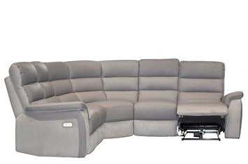 Canapé angle relax électrique WELTON Cuir Taupe microis clair