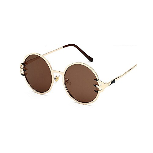 sol UV Gafas Decoración Style de Cool hombres conducir Unisex Metal lente Garra de Protección Gafas retro para de Punk Retro y sol Viajar redondo para mujeres sol Wolves Marrón de esqu Frame PC gafas Gafas Uzq11T