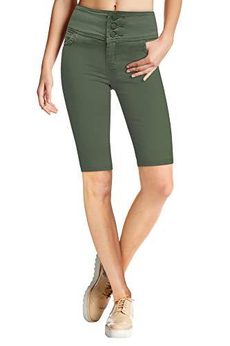 HyBrid & Company Womens Super Stretch 5 Button Hi Waist Skinny Shorts B45066SK Olive 9