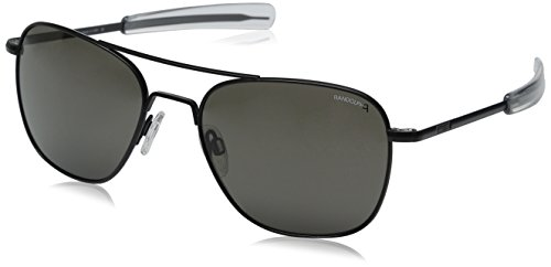 Randolph Aviator Polarized Sunglasses,Matte Black/Grey 58 ()
