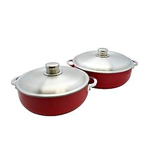 IMUSA USA 2 Piece Red Caldero (Dutch Oven Set) with Aluminum Lid 26/30cm