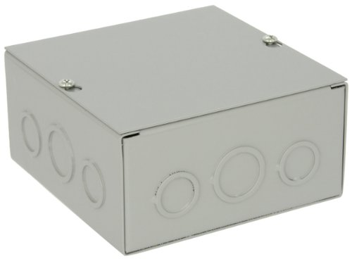 """Price comparison product image BUD Industries JB-3954-KO Steel NEMA 1 Sheet Metal Junction Box with Knockout and Lift-off Screw Cover, 6"""" Width x 6"""" Height x 3"""" Depth, Gray Finish"""