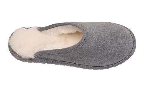 Vogar Femmes D68p Pantoufles Peau Doublure Laine De blanc Gris Chaussons Avec Luxe Mouton Chaud xfwxgdnT
